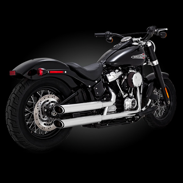 Fat Boy and Breakout Low Rider Softail Slim Vance /& Hines Black Twin Slash 3-Inch Slip-ons for 2018-Newer Softail Street Bob