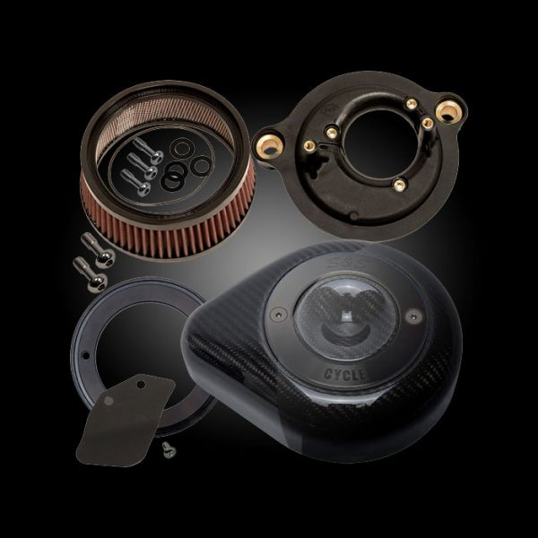S&S Cycle Stealth Air Cleaner with Carbon Fiber Teardrop Cover